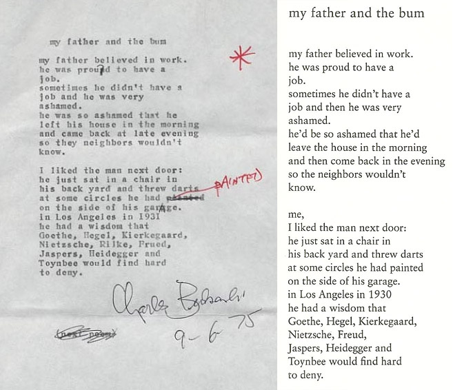 My Father And The Bum | Charles Bukowski - American author